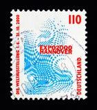 O emblema da EXPO 2000 da exposição de mundo, Hannover, observa o serie foto de stock