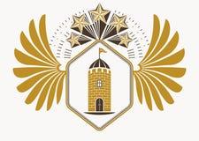 O emblema elegante feito com águia voa a decoração, fortres medievais Foto de Stock Royalty Free