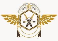 O emblema elegante feito com águia voa a decoração, o arsenal e as estrelas Fotografia de Stock Royalty Free