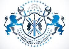 O emblema elegante, vector a brasão heráldica Proteção e do vetor Imagens de Stock