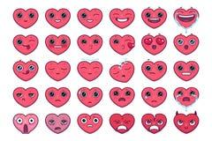 O emoji bonito do coração ajustou 30 partes do kawaii e emoticon muito exato dos corações ilustração do vetor