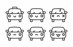 O emoji do carro, caráter da cara do carro sorri linha grupo dos ícones do estilo ilustração do vetor