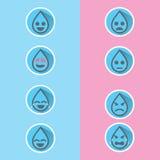 O emoticon liso da água da gota do projeto ajustou-se com sombra longa, para o projeto de projeto da campanha da água, ou recurso Fotografia de Stock