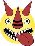 O emoticon louco do dragão com boca aberta e o diabo sorriem imagem de stock