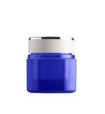 O empacotamento azul do frasco isolado no fundo branco Fotografia de Stock