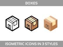 O empacotamento isométrico do ofsimples do grupo encaixota ícones do vetor em três estilos: liso, linha arte e 3D Caixas de car Foto de Stock