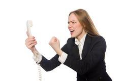O empregado de escritório bonito que mantém o telefone isolado Foto de Stock Royalty Free