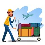 O empregado do sexo masculino está levando o carro com bagagem das malas de viagem e dos sacos no aeroporto no fundo do plano da  ilustração stock