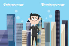O empresário pensa sobre ser wantrepreneur ilustração stock