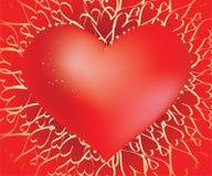 O encanto do wirh do coração sparkles no fundo dos corações Foto de Stock