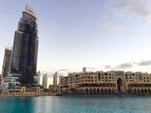 O endereço Dubai do centro após o fogo Foto de Stock