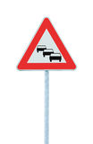 O engarrafamento enfileira o sinal de estrada provável, espera os atrasos que advertem adiante Fotografia de Stock Royalty Free