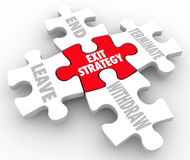 O enigma da estratégia de saída remenda palavras que a maneira para fora planeia a cláusula Imagem de Stock