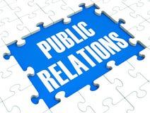 O enigma das relações públicas mostra a publicidade e a imprensa ilustração stock