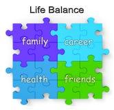 O enigma do balanço da vida mostra a família e os amigos ilustração do vetor