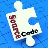 O enigma do código fonte mostra o programa ou a programação de software Imagem de Stock Royalty Free