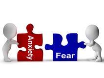 O enigma do medo da ansiedade significa ansioso e receoso ilustração do vetor