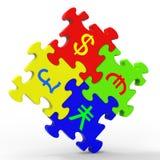 O enigma dos símbolos de moeda mostra o investimento global ilustração do vetor