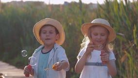 O entretenimento das crianças, os amigos pequenos felizes menino e a menina em chapéus de palha fundem bolhas na luz ensolarada filme