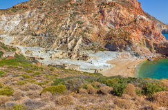 O enxôfre abandonado mina, Milos console, Greece Fotos de Stock