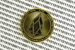 O EOS é uma maneira moderna de troca e esta moeda cripto é meios de pagamento convenientes nos mercados financeiros e da Web foto de stock