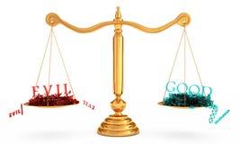 O equilíbrio dos bens e o mal ilustração stock