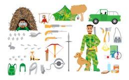 O equipamento da caça ajustou-se no estilo liso no fundo branco Artigos para a caça e a recreação na floresta Imagem de Stock