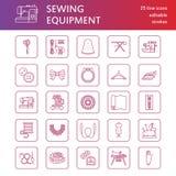 O equipamento da costura, alfaiate fornece a linha lisa ícones ajustados Acessórios do bordado - máquina do bordado da costura, p ilustração royalty free
