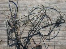 O equipamento de pesca Tangled moldou sombras estranhas Fotografia de Stock Royalty Free