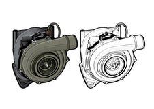 O equipamento do carro do turbocompressor parte a velocidade da raça Fotografia de Stock