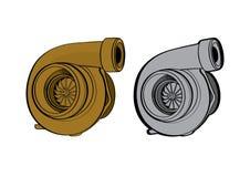 O equipamento do carro do turbocompressor parte a velocidade da raça Foto de Stock