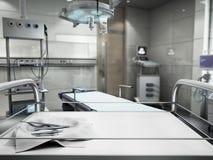 o equipamento e os dispositivos médicos na sala de operações moderna 3d rendem Imagens de Stock Royalty Free