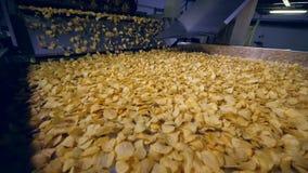 O equipamento fabril do alimento move microplaquetas de batata fritadas, movimento lento filme