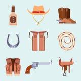 O equipamento ocidental selvagem do rodeio do vaqueiro dos ícones do grupo de elementos e os acessórios diferentes vector a ilust Imagens de Stock Royalty Free