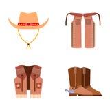 O equipamento ocidental selvagem do rodeio do vaqueiro dos ícones do grupo de elementos e os acessórios diferentes vector a ilust Fotos de Stock Royalty Free