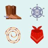 O equipamento ocidental selvagem do rodeio do vaqueiro dos ícones do grupo de elementos e os acessórios diferentes vector a ilust Foto de Stock