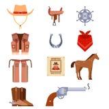 O equipamento ocidental selvagem do rodeio do vaqueiro dos ícones do grupo de elementos e os acessórios diferentes vector a ilust Imagens de Stock