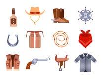 O equipamento ocidental selvagem do rodeio do vaqueiro dos ícones do grupo de elementos e os acessórios diferentes vector a ilust Imagem de Stock Royalty Free