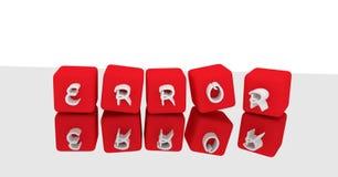 o erro da rendição da ilustração 3d rotula o cubo vermelho dos dados da palavra no re ilustração do vetor