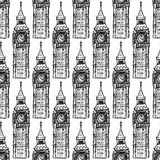 O esboço Big Ben, vector o teste padrão sem emenda Imagens de Stock