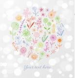 O esboço colorido da garatuja floresce no fundo de incandescência branco Foto de Stock