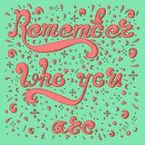 O esboço cor-de-rosa recorda quem você é no fundo de água-marinha Imagem de Stock