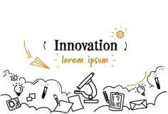 O esboço criativo do conceito da inovação da ideia da pesquisa nova do laboratório rabisca o espaço isolado horizontal da cópia ilustração royalty free