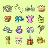 O esboço da aptidão coloriu ícones ajustados Imagem de Stock Royalty Free