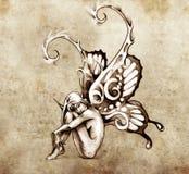 O esboço da arte do tatuagem, fairy com borboleta voa Imagem de Stock Royalty Free