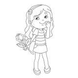 O esboço da página da coloração da menina bonita com aumentou à disposição Fotografia de Stock Royalty Free