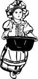 O esboço de uma menina é com uma bacia de lavagem Imagens de Stock