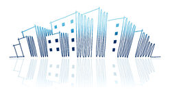 O esboço de uma skyline da cidade Imagens de Stock