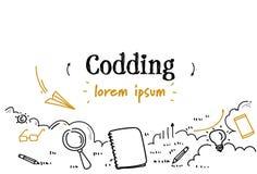 O esboço do conceito da codificação da programação de software do desenvolvimento rabisca o espaço isolado horizontal da cópia ilustração royalty free
