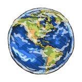 O esboço do globo coloriu a ilustração do vetor do desenho de esboçado Fotos de Stock Royalty Free
